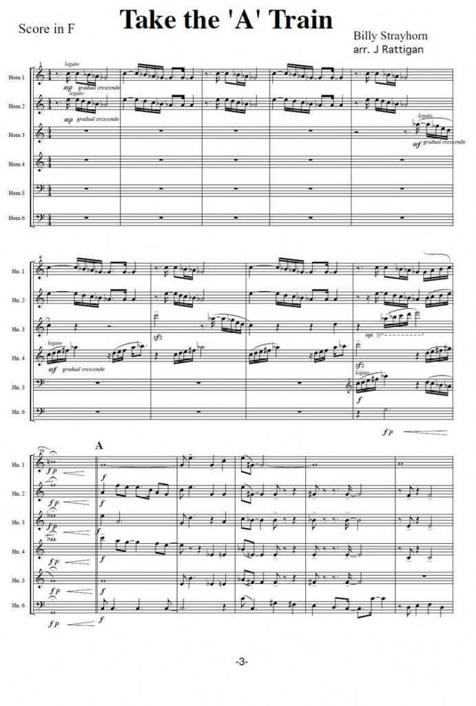 All Music Chords free french horn sheet music : TAKE THE 'A' TRAIN arranged for 6 Horns | Jim Rattigan