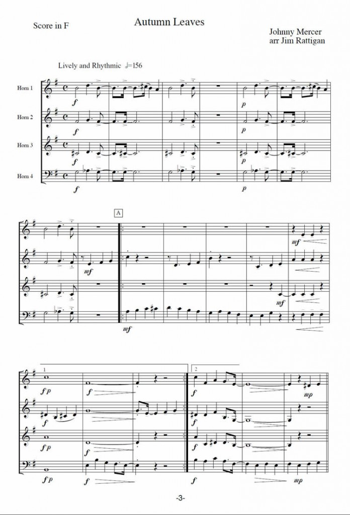 All Music Chords free french horn sheet music : AUTUMN LEAVES arranged for 4 Horns | Jim Rattigan